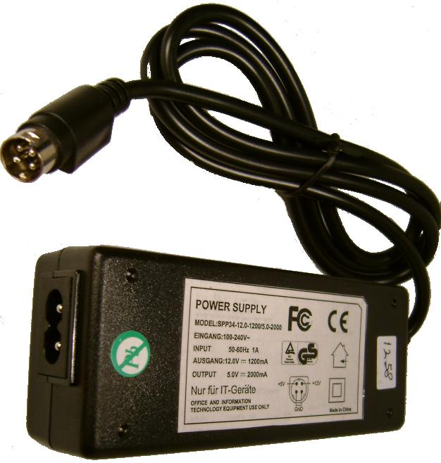 Finecom SPP34-12.0-2200/5.0-2000 AC ADAPTER 12V 2200mA 5V DC 200