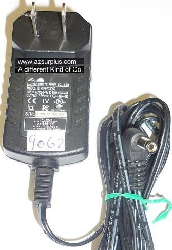 SUZHOU BT25P070300 AC ADAPTER 7.5VDC 1A USED -(+) 2x5.5x11mm 90°