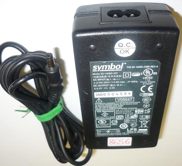SYMBOL 50-14000-107 AC Adapter 9VDC 2A Used -(+)- 1.5x4mm ROUND
