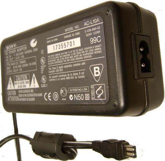 SONY AC-L10A AC ADAPTER 8.4VDC 1.5A USED FLAT 2PIN CAMERA CHARGE