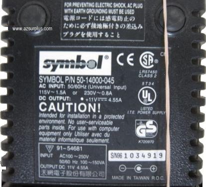 Symbol 50 14000 045 Ac Adapter Dc 11v 455a Class 2 Transformer