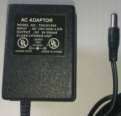 TDX351322 AC ADAPTER 9VDC 200mA USED 2 x 5.5 x 13mm