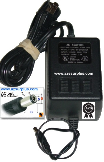 Cord Connected TEAC-57-241200UT AC Adapter 24VAC 1.2A ~(~) 2x5.5