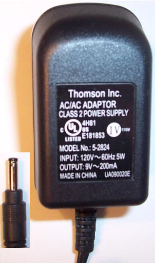 THOMSON 5-2824 AC ADAPTER 9VAC 200mA 5W PHONE POWER SUPPLY
