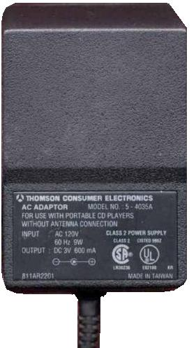 THOMSON 5-4035A AC ADAPTER 3V DC 600mA POWER SUPPLY FOR PORTABLE