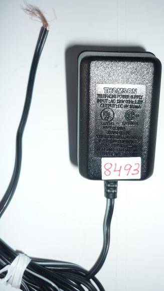 THOMSON DU28090010C AC ADAPTER 9VDC 100mA USED -(+) CUT WIRE COR
