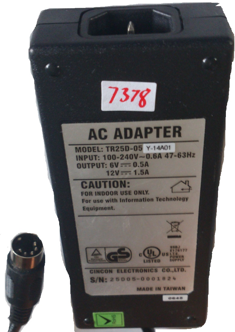 TR25D-05 AC ADAPTER 6VDC 0.5A 12VDC 1.5A USED 5 PIN DIN