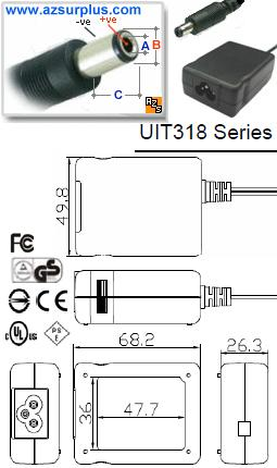 UNIFIVE UIT318-15 AC ADAPTER 15VDC 1.2A -(+)- 2x5.5mm Switching