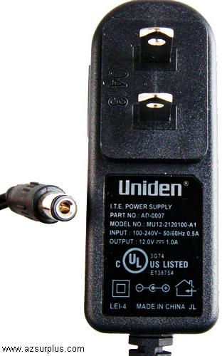 Uniden MU12-2120100-A1 AC ADAPTER 12VDC 1A ITE SWITCHING POWER S