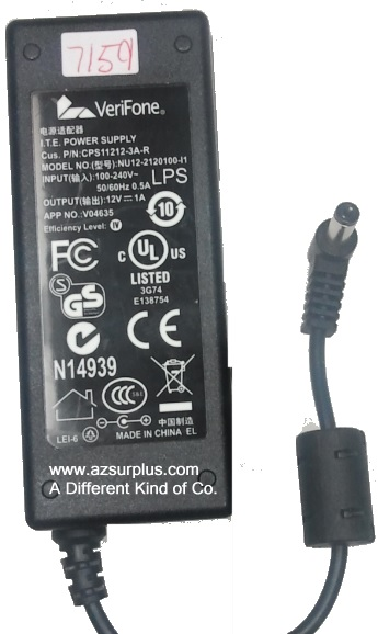 VERIFONE NU12-2120100-I1 AC ADAPTER 12V 1A Used -(+)- 2.5 x5.5mm