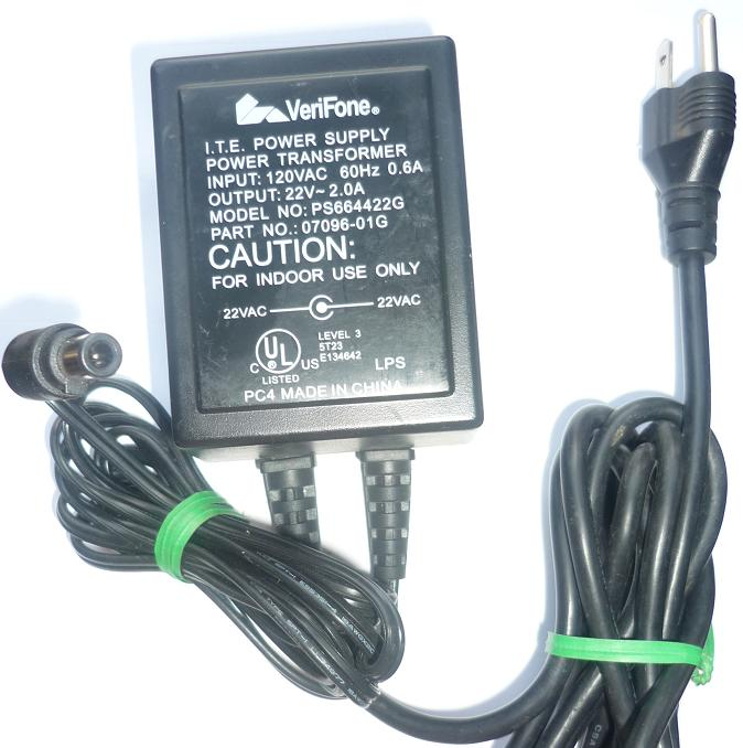 VERIFONE PS664422G AC ADAPTER 22VAC 2A USED ~(~) 1x4.1x8.5mm POW