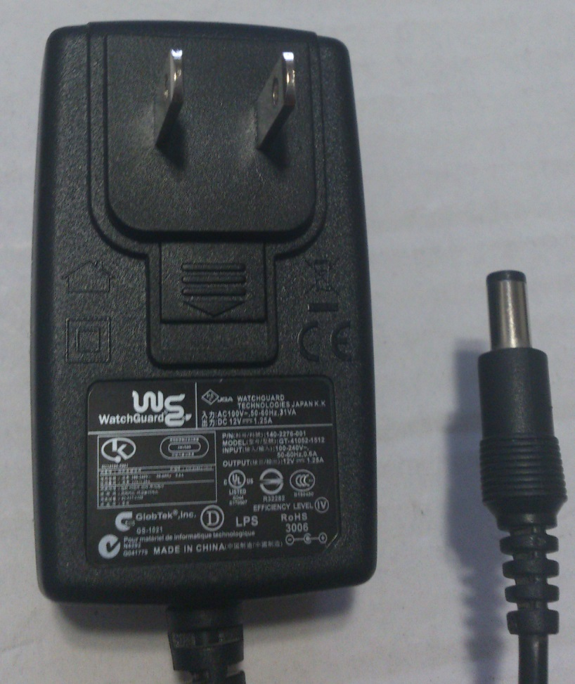 WATCHGUARD GT-41052-1512 AC ADAPTER 12VDC 1.25A USED -(+)-
