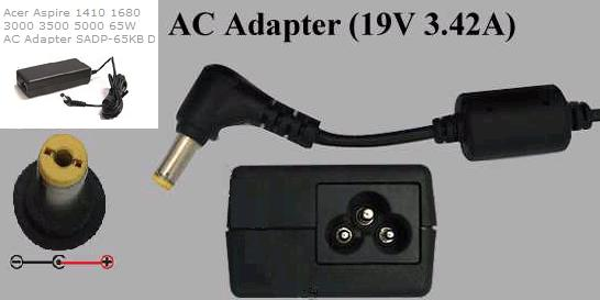 Delta SADP-65KB D AC adapter 19VDC 3.42A -(+) 1.7x5.5mm Used ROU