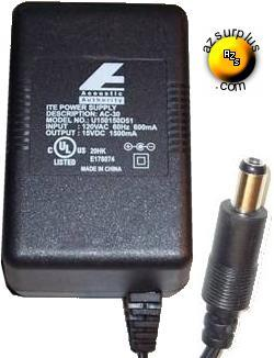 ACOUSTIC AUTHORITY U150150D51 AC DC ADAPTER 15V 1500MA ITE POWER