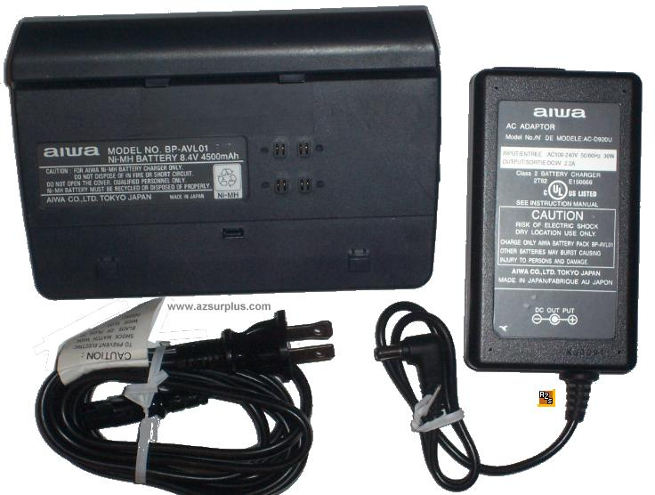 AIWA BP-AVL01 AC Adapter 9VDC 2.2A -(+) BATTERY Charger for NI-M