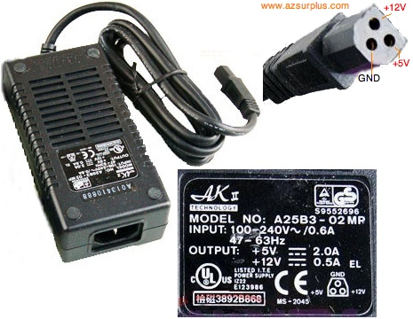 AKII A25B3-02MP AC ADAPTER +5V 2A 12V 0.5A 3Pin Power Supply