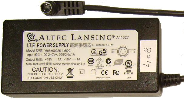 ALTEC LANSING A11327 AC ADAPTER +/- 18VDC 1A 9606+00226-1MOC 4Pi - Click Image to Close