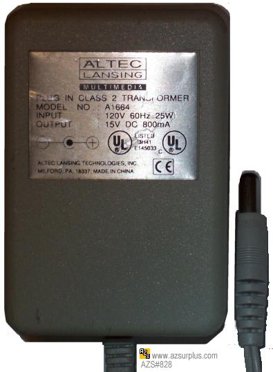 ALTEC LANSING A1664 AC ADAPTER 15Vdc 800mA USED -(+) 2x