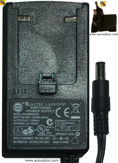 ALTEC LANSING S024EM0500250 AC ADAPTER 5VDC 2500mA -(+) Used 2x5