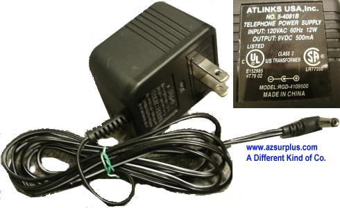 ATLINKS RGD-4109500 AC ADAPTER 9VDC 500mA -(+) 2.5x5.5mm 90° 120