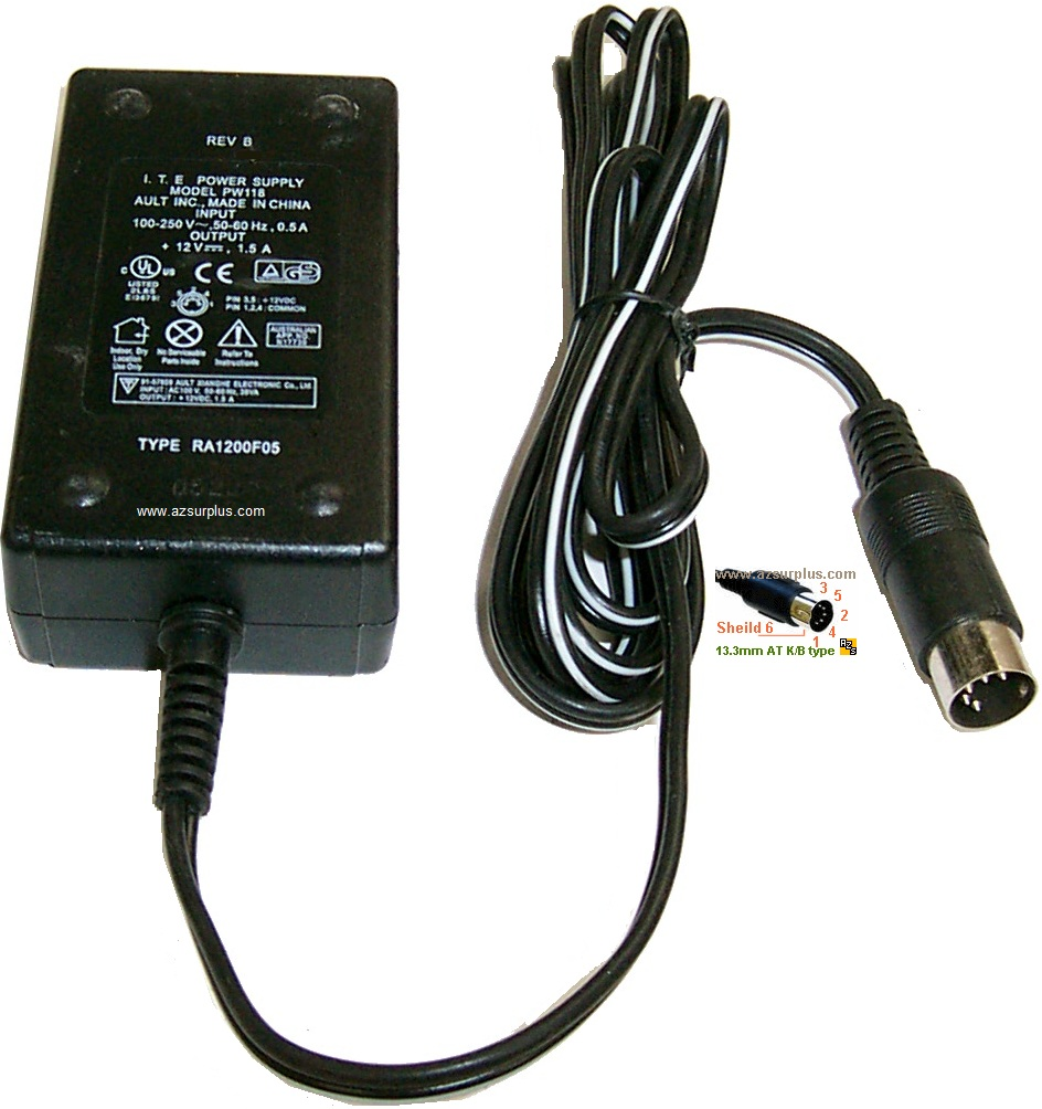 Ault I.T.E. PW118 AC Adapter 12Vdc 1.5A 5Pin 13mm Din New Power