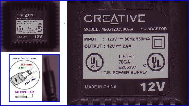 CREATIVE MAG120290UA4 AC ADAPTER 12VAC 2.9A ~(~) 2x5.5mm 120vac