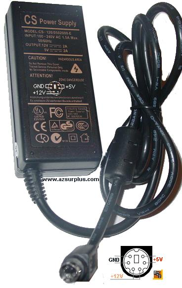 CS CS-120/0502000-E AC ADAPTER 5VDC 2A 12VDC 6Pin USED Dual Volt