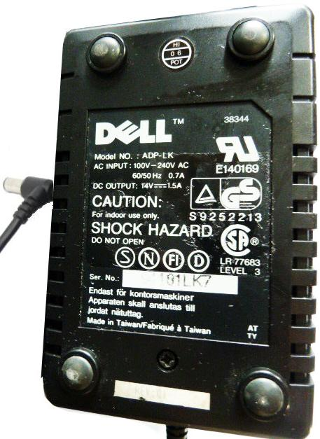 DELL ADP-LK AC ADAPTER 14VDC 1.5A USED -(+) 3x6.2mm 90° RIGHT