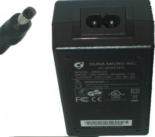 DURA MICRO DM5133 AC ADAPTER 12Vdc 2A -(+) 2x5.5mm POWER SUPPLY