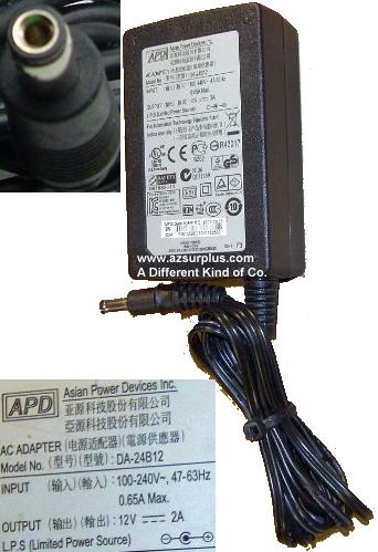 DVE DA-24B12 AC ADAPTER 12VDC 2A -(+) 2.5x5.5mm 100-240vac POWER