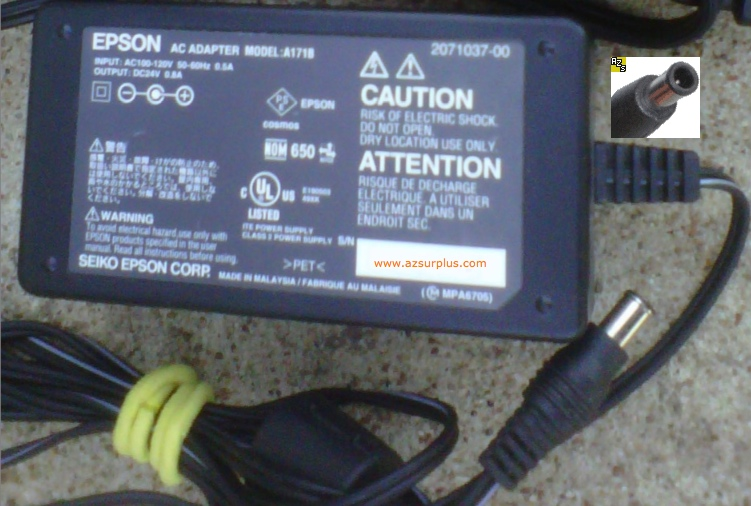EPSON A171B AC ADAPTER 24VDC 0.8A POWER SUPPLY 2071037-00