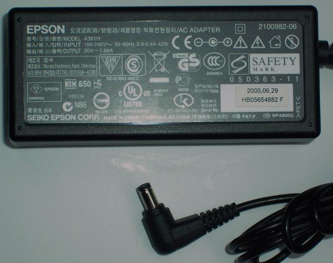 EPSON A361H AC ADAPTER 20VDC 1.68A POWER SUPPLY
