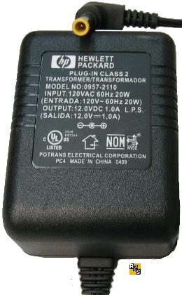 HP 0957-2110 AC ADAPTER 12VDC 1A 3.3x5.5 90° Tip Printer POWER S