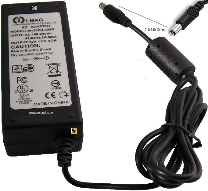 I-MAG IM120EU-400D AC ADAPTER 12VDC 4A -(+)- 2x5.5mm 100-240Vac - Click Image to Close