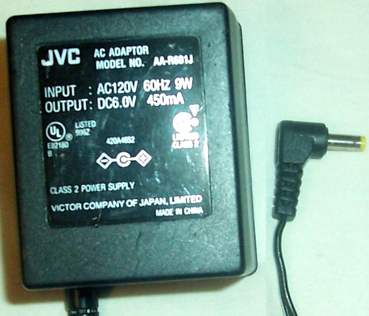 JVC AA-R601J AC ADAPTER DC6V 450mA CLASS 2 POWER SUPPLY