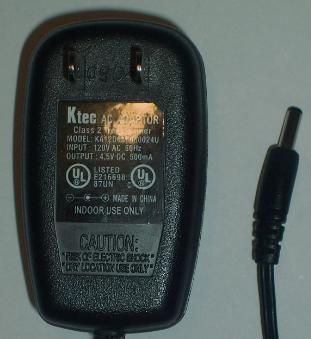 KTEC KA12D045050024U AC ADAPTER 4.5VDC 500mA -(+)- 1.3x3.7mm POW