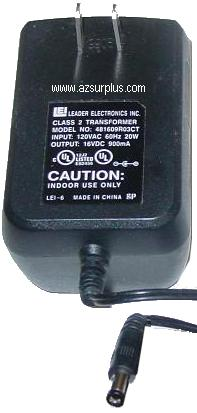LEADER 481609R03CT AC ADAPTER 16VDC 900mA USED -(+) 2.1x5.5mm RO