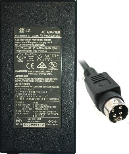 LG SAD7015SE AC ADAPTER 15VDC 4.5A 4pin 10mm LCD TV POWER SUPPLY