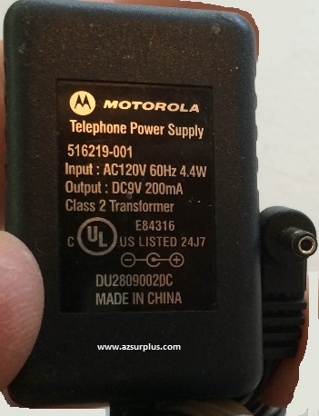 MOTOROLA 516219-001 AC ADAPTER 9VDC 200mA POWER SUPPLY DU2809002