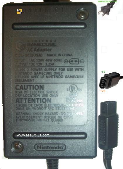 NINTENDO DOL-002(USA) AC ADAPTER 12VDC 3.25A GAMECUBE POWER SUPP