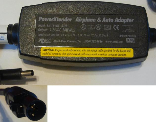 NEC POWERXTENDER AIRPLANE AND AUTO ADAPTER 5-24VDC 50W MAX