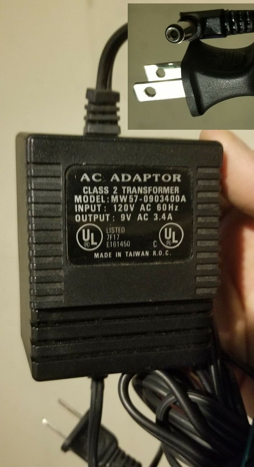 Finecom mw57-0903400a AC ADAPTER 9VAC 3.4A - 4A 2.1x5.5mm 30w 90