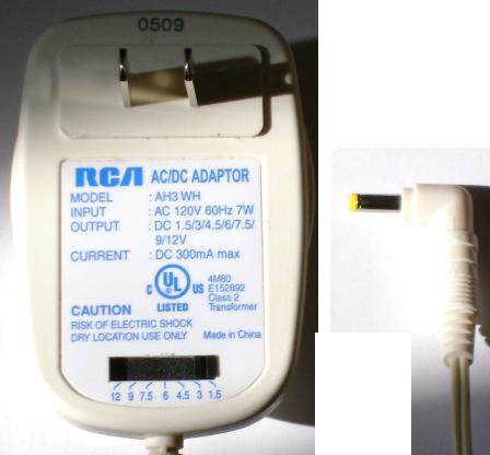 RCA AH3-WH AC DC MULTI VOLTAGE ADAPTER 300MA POWER SUPPLY