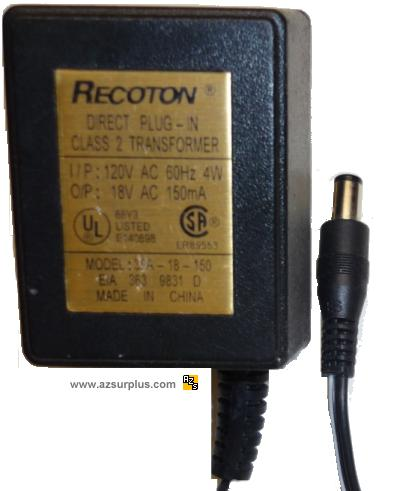 RECOTON 35-18-150 AC ADAPTER 18VAC 150mA Linear POWER SUPPLY