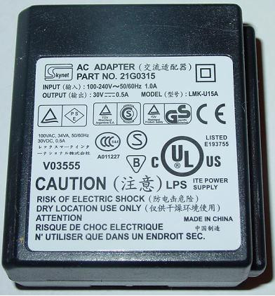 SKYNET 21G0315 AC ADAPTER 30VDC 0.5A ITE POWER SUPPLY for LEXMAR