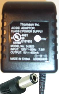 THOMSON 5-2823 AC ADAPTER 9VDC 400mA 7.5W CLASS 2 POWER SUPPLY