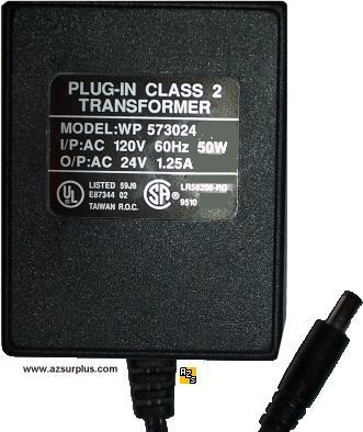 WP573024 AC ADAPTER 24VAC 1.25A PLUG-IN CLASS 2 TRANSFORMER POWE